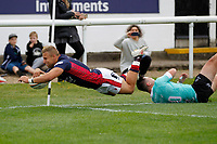 TRY - Luke Hibberd of London Scottish dives for the line during the Championship Cup match between London Scottish Football Club and Nottingham Rugby at Richmond Athletic Ground, Richmond, United Kingdom on 28 September 2019. Photo by Carlton Myrie / PRiME Media Images