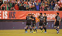 EAST RUTHERFORD, NJ - SEPTEMBER 6: Uriel Antuna #26 of Mexico celebrates his score with team mates during a game between Mexico and USMNT at MetLife Stadium on September 6, 2019 in East Rutherford, New Jersey.