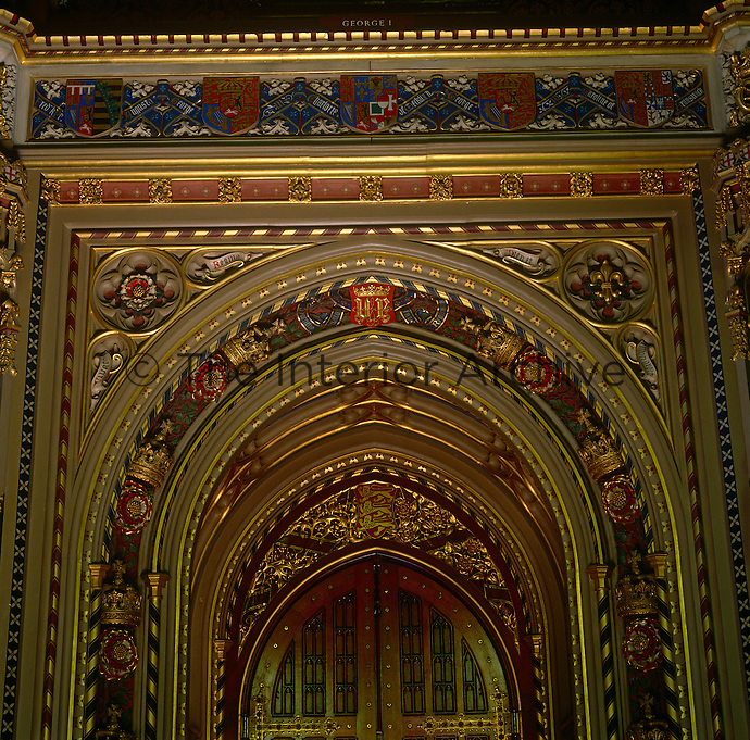 A particularly strong example of the vibrant, gothic revival decoration that ornaments the doorways, walls and ceilings of the House of Lords