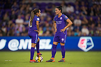 Orlando, FL - Saturday March 24, 2018: Orlando Pride forward Marta Vieira da Silva (10) and Orlando Pride defender Ali Krieger (11) waits for the second half kickoff  during a regular season National Women's Soccer League (NWSL) match between the Orlando Pride and the Utah Royals FC at Orlando City Stadium. The game ended in a 1-1 draw.