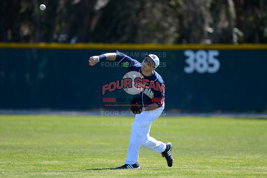 Notre Dame Fighting Irish outfielder James Nevant #26 during a game against the Mercer Bears at the Buck O'Neil Complex on February 17, 2013 in Sarasota, Florida.  Mercer defeated Notre Dame 5-4.  (Mike Janes/Four Seam Images)