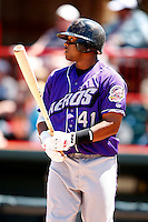 May 31, 2009:  Designated Hitter Carlos Santana of the Akron Aeros at bat during a game at Jerry Uht Park in Erie, NY.  The Aeros are the Eastern League Double-A affiliate of the Cleveland Indians.  Photo by:  Mike Janes/Four Seam Images