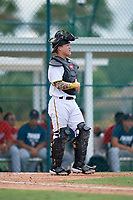 GCL Pirates catcher Daniel Angulo (27) during a Gulf Coast League game against the GCL Twins on August 6, 2019 at Pirate City in Bradenton, Florida.  GCL Twins defeated the GCL Pirates 1-0 in the second game of a doubleheader.  (Mike Janes/Four Seam Images)