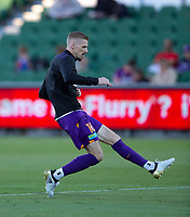 27th March 2021; HBF Park, Perth, Western Australia, Australia; A League Football, Perth Glory versus Newcastle Jets; Andy Keogh of Perth Glory shooting during warm ups