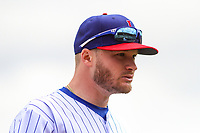 Iowa Cubs second baseman Ian Happ (8) heads to the dugout between innings during a Pacific Coast League game against the San Antonio Missions on May 2, 2019 at Principal Park in Des Moines, Iowa. Iowa defeated San Antonio 8-6. (Brad Krause/Four Seam Images)
