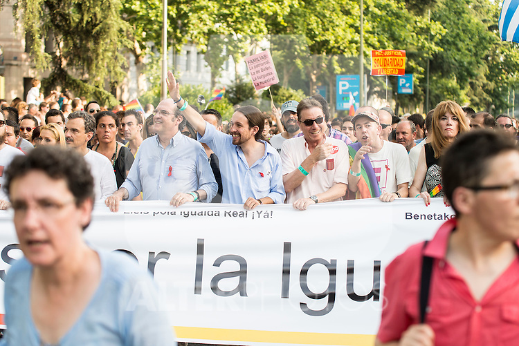 """Leader """"Podemos"""" Pablo Iglesias attends to the protest during Gay Pride celebrations in Madrid, Spain. July 04, 2015.<br />  (ALTERPHOTOS/BorjaB.Hojas)"""