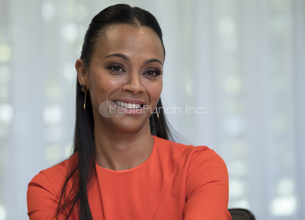 Zoe Saldana, who stars in 'The Missing Link', at the Beverly Hilton in Beverly Hills, CA. 2019/03/30 Credit: Magnus Sundholm/Action Press/MediaPunch ***FOR USA ONLY***