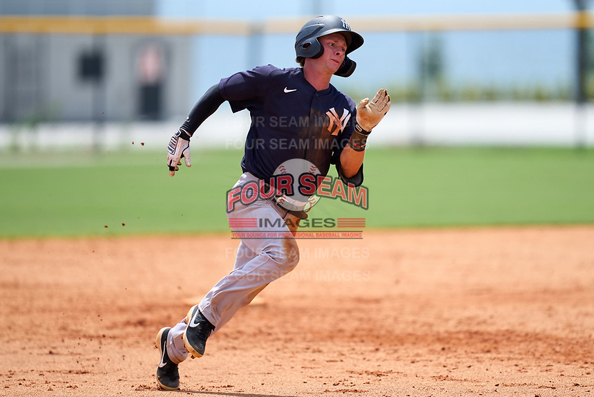 FCL Yankees Benjamin Cowles (43) running the bases during a game against the FCL Tigers West on July 31, 2021 at Tigertown in Lakeland, Florida.  (Mike Janes/Four Seam Images)