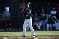 Chris Gambert (32) of the Bellarmine Knights at bat against the North Greenville Crusaders at Ashmore Park on February 7, 2020 in Tigerville, South Carolina. The Crusaders defeated the Knights 10-2. (Brian Westerholt/Four Seam Images)