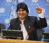 NEW YORK, NY - SEPTEMBER 26: President of The Plurinational State of Boluvia Mr. Evo Morales Ayma attendsa press conference at the United Nations on September 26, 2015 in New York City<br /> <br /> <br /> People:  President of The Plurinational State of Boluvia Mr. Evo Morales