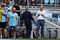ST PAUL, MN - JULY 18: Minnesota United FC Coach Adrian Heath and Seattle Sounders FC Coach Brian Schmetzer during a game between Seattle Sounders FC and Minnesota United FC at Allianz Field on July 18, 2021 in St Paul, Minnesota.