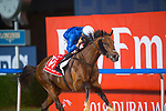 DUBAI,UNITED ARAB EMIRATES-MARCH 31: (10) Thunder Snow,ridden by Christophe Soumillon,wins the Dubai World Cup at Meydan Racecourse on March 31,2018 in Dubai,United Arab Emirates (Photo by Michael McInally/Eclipse Sportswire/Getty Images)
