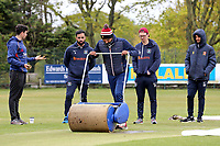 Attempts are made to dry the playing area after heavy rain fell ahead of Wanstead and Snaresbrook CC vs Hornchurch CC, Hamro Foundation Essex League Cricket at Overton Drive on 8th May 2021