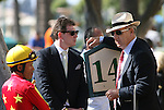 05 July 2009: Trainer Neil Drysdale with owner Bobby Flay and jockey David R. Flores before the American Oaks (GI) at Hollywood Park in Inglewood, CA .