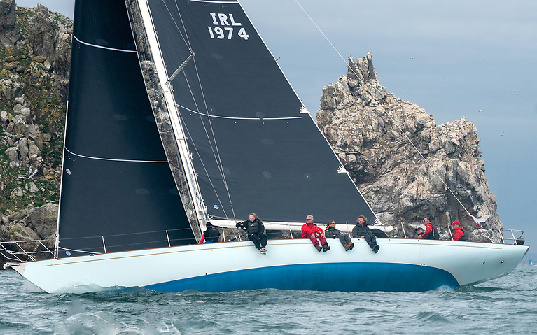 The Spirit 54 Soufriere (Stephen O'Flaherty) makes in past the gannet-laden Stack, on her way to winning Class 1 ECHO. Photo: Annraoi Blaney