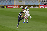 ST PAUL, MN - SEPTEMBER 06: Emanuel Reynoso #10 of Minnesota United FC and Kyle Beckerman #5 of Real Salt Lake battle for the ball during a game between Real Salt Lake and Minnesota United FC at Allianz Field on September 06, 2020 in St Paul, Minnesota.