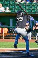 Ramon Hernandez (19) of the Missoula Osprey at bat against the Ogden Raptors in Pioneer League action at Lindquist Field on July 14, 2016 in Ogden, Utah. Ogden defeated Missoula 10-4. (Stephen Smith/Four Seam Images)