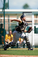 Pittsburgh Pirates catcher Christian Kelley (96) during an Instructional League Intrasquad Black & Gold game on September 20, 2016 at Pirate City in Bradenton, Florida.  (Mike Janes/Four Seam Images)