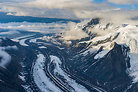 Aerial of Muldrow Glacier winding out from Denali, North America's tallest peak.