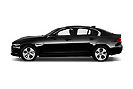 Car driver side profile view of a 2018 Jaguar XE Prestige 4 Door Sedan