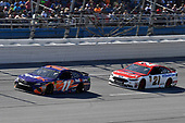 #11: Denny Hamlin, Joe Gibbs Racing, Toyota Camry FedEx Express and #21: Paul Menard, Wood Brothers Racing, Ford Fusion Motorcraft / Quick Lane Tire & Auto Center
