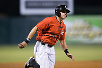 Brandon Dulin (31) of the Kannapolis Intimidators hustles towards home plate during the game against the Lakewood BlueClaws at Kannapolis Intimidators Stadium on April 8, 2017 in Kannapolis, North Carolina.  The BlueClaws defeated the Intimidators 8-4 in 10 innings.  (Brian Westerholt/Four Seam Images)