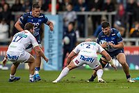 3rd October 2021; AJ Bell stadium, Eccles, Greater Manchester, England: Gallagher Premiership Rugby, Sale v Exeter ; Cameron Neild of Sale Sharks is tackled by Jack Yeandle of Exeter Chiefs