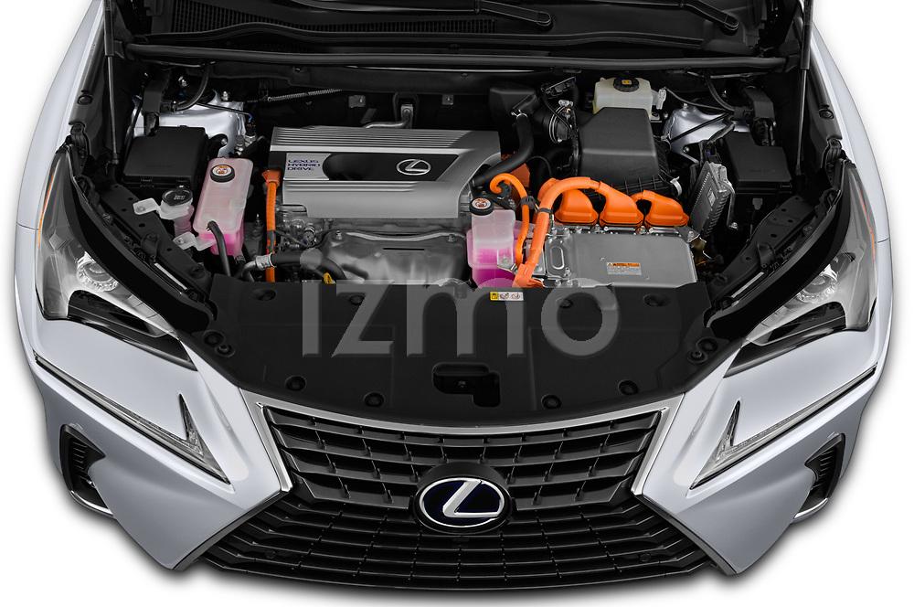Car Stock 2020 Lexus NX 300h 5 Door SUV Engine  high angle detail view