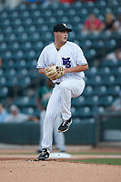 Winston-Salem Dash starting pitcher Jeremiah Burke (34) in action against the Greensboro Grasshoppers at Truist Stadium on August 13, 2021 in Winston-Salem, North Carolina. (Brian Westerholt/Four Seam Images)
