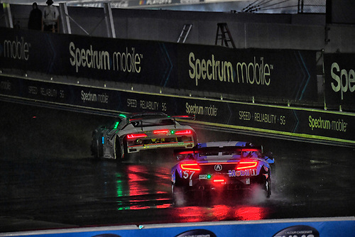#57 Heinricher Racing w/MSR Curb-Agajanian Acura NSX GT3, GTD: Alvaro Parente, Misha Goikhberg ,#30 Team Hardpoint Audi R8 LMS GT3, GTD: Rob Ferriol, Spencer Pumpelly