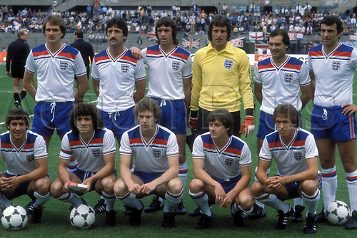 12.06.1980 Turin, Italy; 1980 Euros competition;  England national team line-up showing Phil Thompson, David Johnson, Dave Watson, Ray Clemence, Ray Wilkins, Trevor Brooking, vorn: Kenny Sansom, Kevin Keegan, Tony Woodcock, Steve Coppell, Phil Neal