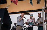 Fabio Aru (ITA/Astana) honored with the stage winners medal (for the previous' stage) up the sign-on podium<br /> <br /> 104th Tour de France 2017<br /> Stage 6 - Vesoul › Troyes (216km)