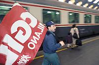 - Milan, workers of Maserati car factory in Lambrate stop the Central station in protest for plant closing....- Milano, operai della fabbrica di automobili Maserati di lambrate bloccano la stazione Centrale in protesta per la chiusura della fabbrica
