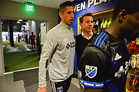 San Jose, CA - Wednesday June 28, 2017: David Bingham, Chris Leitch during a U.S. Open Cup Round of 16 match between the San Jose Earthquakes and the Seattle Sounders FC at Avaya Stadium.