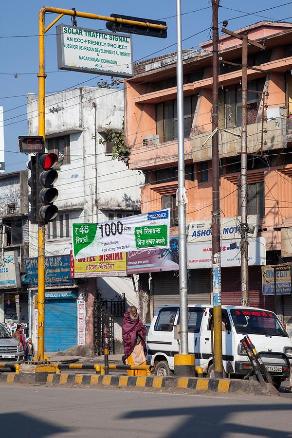 India, Dehradun.  Solar-powered Traffic Light.