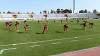 20180307 - LARNACA , CYPRUS :  Belgian team pictured during the warming up of a women's soccer game between  South Africa and the Belgian Red Flames  , on Wednesday 7 March 2018 at the GSZ Stadium in Larnaca , Cyprus . This is the final game in a decision for 5th or 6th place for Belgium during the Cyprus Womens Cup , a prestigious women soccer tournament as a preparation on the World Cup 2019 qualification duels. PHOTO SPORTPIX.BE | DAVID CATRY
