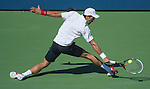 Novak Djokovic (SRB) splits the first two sets against Stanislaus Wawrinka(SUI) in the men's semis at the US Open being played at USTA Billie Jean King National Tennis Center in Flushing, NY on September 7, 2013