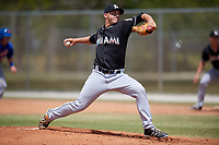 Miami Marlins starting pitcher Michael King (50) delivers a pitch during a minor league Spring Training game against the New York Mets on March 26, 2017 at the Roger Dean Stadium Complex in Jupiter, Florida.  (Mike Janes/Four Seam Images)