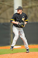 Virginia Commonwealth Rams relief pitcher Logan Kanuik (14) in action against the Charlotte 49ers at Robert and Mariam Hayes Stadium on March 30, 2013 in Charlotte, North Carolina.  The 49ers defeated the Rams 9-8 in game one of a double-header.  (Brian Westerholt/Four Seam Images)