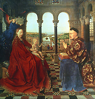 Paintings:  Van Eyck (? - 1441) --La Vierge du Chancelier Rolin.  Louvre.  Reference only.
