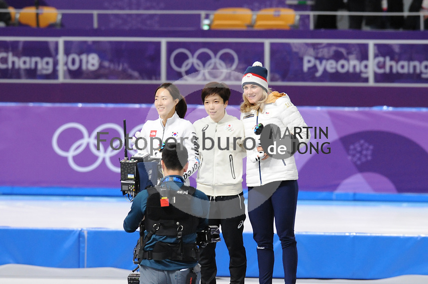 OLYMPIC GAMES: PYEONGCHANG: 18-02-2018, Gangneung Oval, Long Track, Final results 500m Ladies, Sang-Hwa Lee (KOR), Nao Kodaira (JPN), Karolina Erbanova (CZE), ©photo Martin de Jong