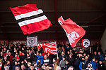 Bristol City 1 Middlesbrough 0, 16/01/2016. Ashton Gate, Championship. The Bristol City Ultras - Forza East End, pictured in the Atyeo Stand during the game between managerless Bristol City and Championship leaders Middlesbrough. Ashton Gate is located in the south-west of the city, it currently has an all-seated capacity of 16,600, due to redevelopment, which will increase to a capacity of 27,000 by the start of the 2016-17 season. Bristol City won the game one goal to nil with a headed injury time winner. Photo by Simon Gill