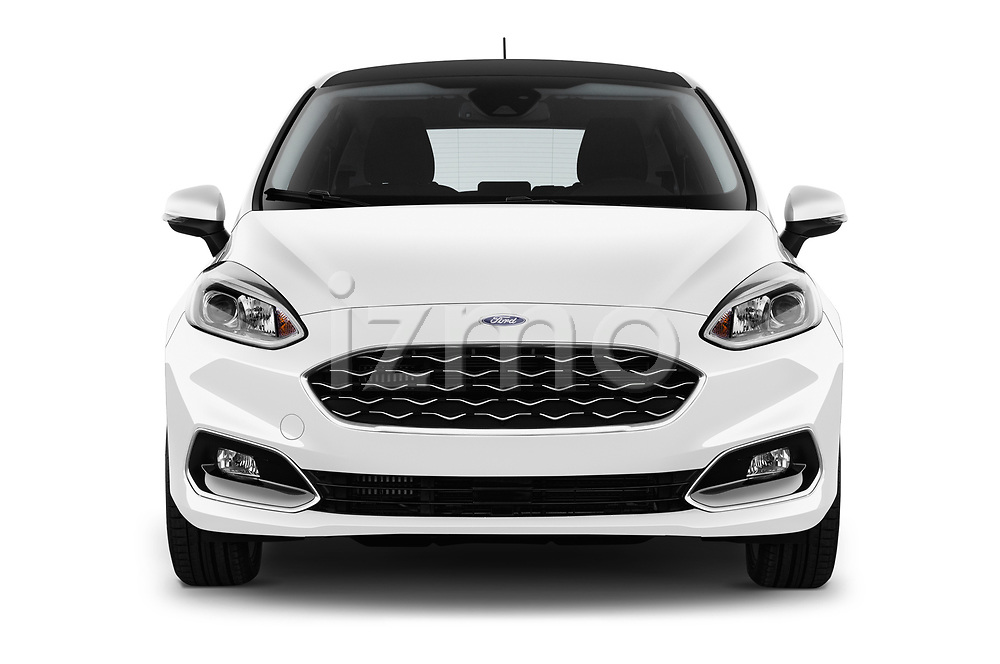 Car photography straight front view of a 2018 Ford Fiesta Vignale Base 5 Door Hatchback