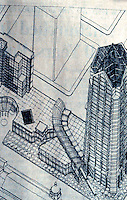 Helmut Jahn: One Great America Plaza, San Diego. Axonometric rendering.