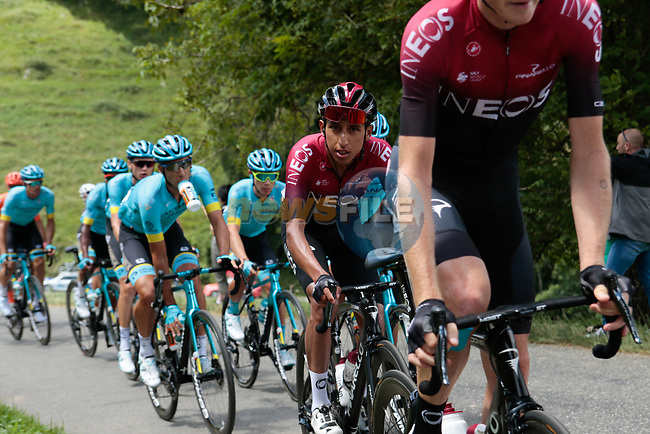 The peloton led by Team Ineos including Egan Bernal (COL) climb the 1st Col during Stage 3 of the Route d'Occitanie 2020, running 163.5km from Saint-Gaudens to Col de Beyrède, France. 3rd August 2020. <br /> Picture: Colin Flockton | Cyclefile<br /> <br /> All photos usage must carry mandatory copyright credit (© Cyclefile | Colin Flockton)