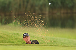Miguel Angel Jimenez splashes out of the sand on the 12th hole during the 2nd round of the ISPS Handa Wales Open 2012....01.06.12.©Steve Pope
