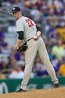 Georgia Bulldogs pitcher Robert Tyler #22 glances over to first base during the Southeastern Conference baseball game against the LSU Tigers on March 22, 2014 at Alex Box Stadium in Baton Rouge, La. The Tigers defeated the Bulldogs 2-1. (Andrew Woolley/Four Seam Images)