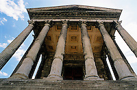 Entrance to the Maison Carree, an ancient temple ca. 16 BC in Nimes, France.