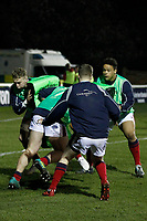 London Scottish players warm up during the Greene King IPA Championship match between London Scottish Football Club and Nottingham Rugby at Richmond Athletic Ground, Richmond, United Kingdom on 7 February 2020. Photo by Carlton Myrie.