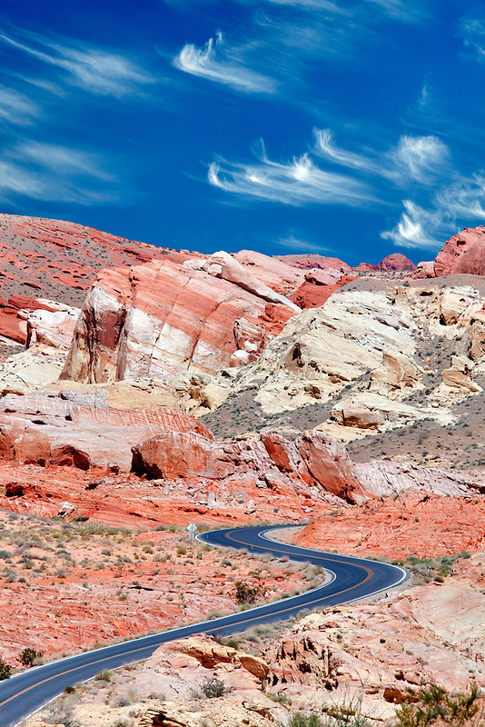 Road through Valley of Fire State Park, Nevada.Sky has been added